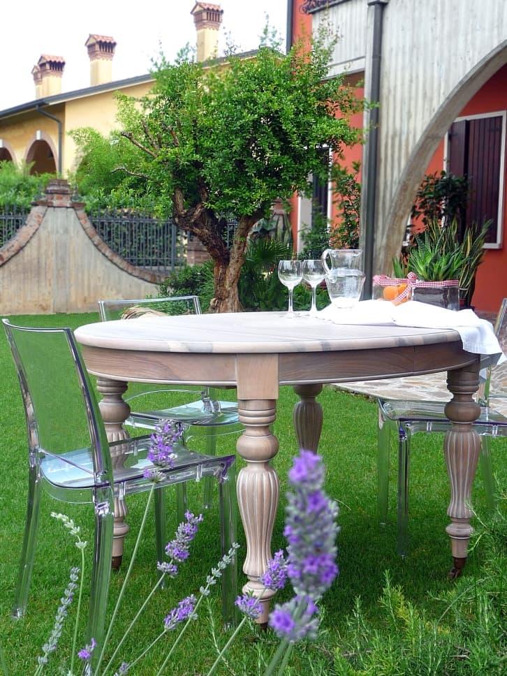 Tavolo Tondo Allungabile In Stile.Tavoli In Stile Inglese Allungabili A Manovella In Noce
