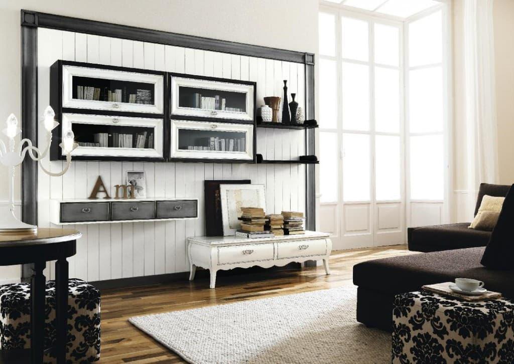 parete attrezzate per soggiorno con elementi modulari