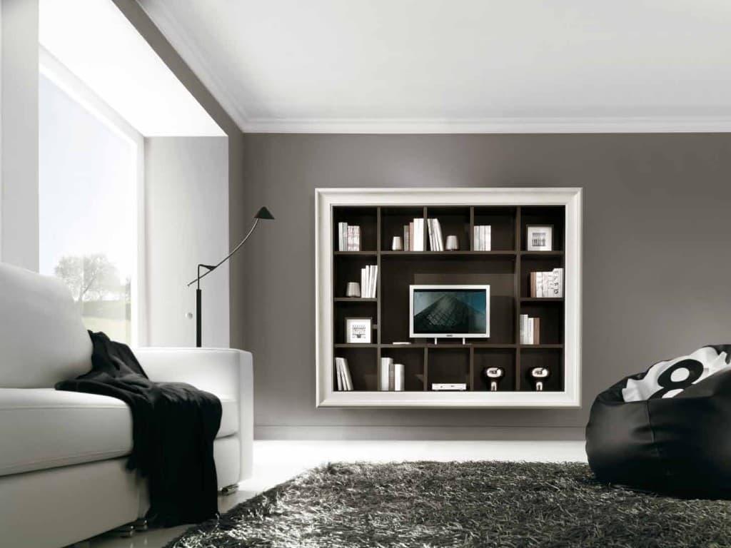 Soggiorni con porta tv quadro con cornice - Parete tv moderna ...
