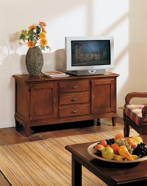 mobili tv stile country in legno, porta tv zona giorno country style,
