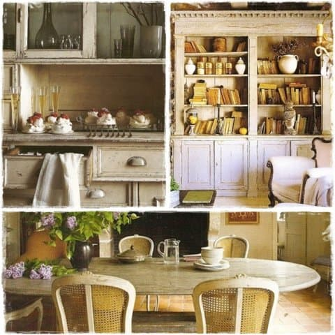 Per il tuo soggiorno scegli colori tenui e uno stile provenzale con mobili decapè