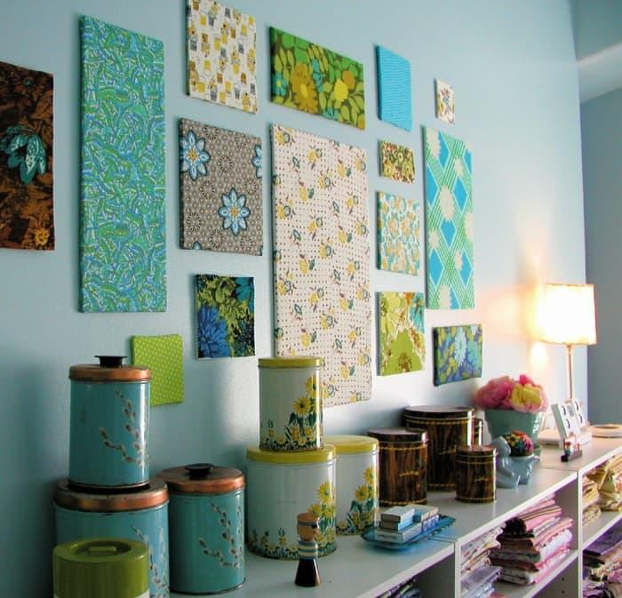 scampoli di tessuto da usare come quadri