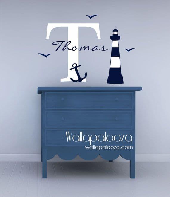 cameretta azzurro blu tema marinaro