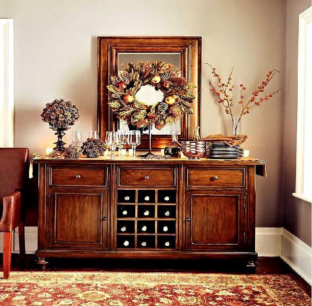 come decorare in stile country con i melograni e decori mobili
