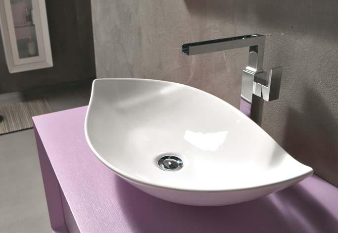 bagno design lavabo foglia ceramica