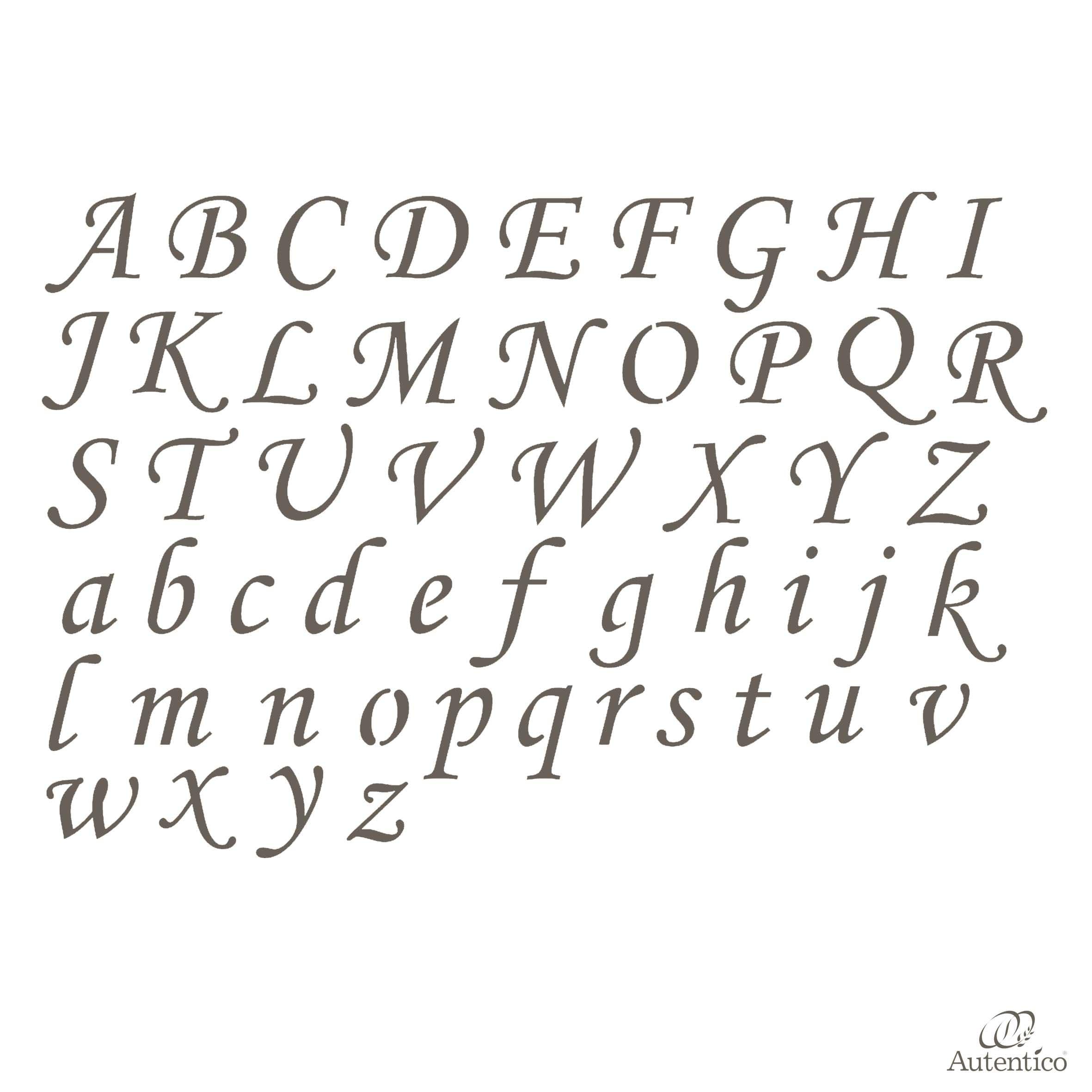 Stencil Riutilizzabile Quot Alfabeto Corsivo Quot Autentico