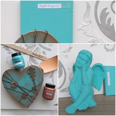 Autentico chalk paint bright turquoise turchese acceso