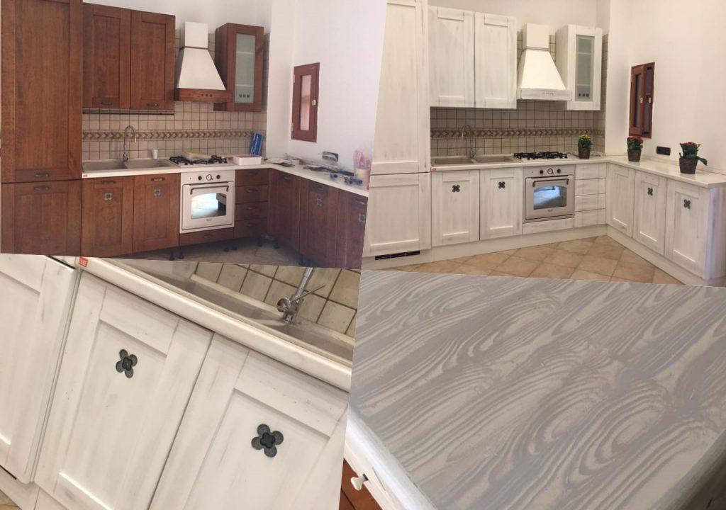 relook totale in cucina dipinto anche il piano di lavoro effetto legno