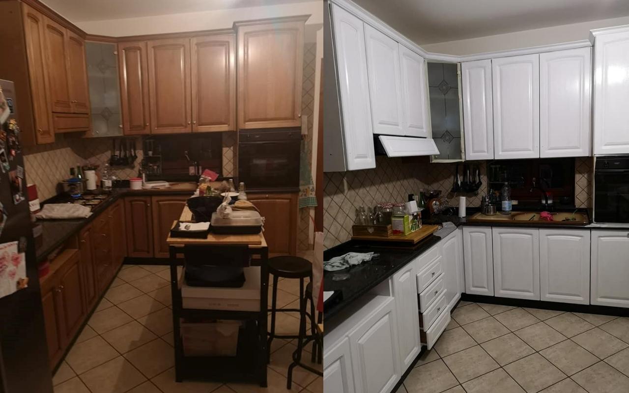 cucina classica noce verniciata effetto laccato lucido con le chalk paint di autentico