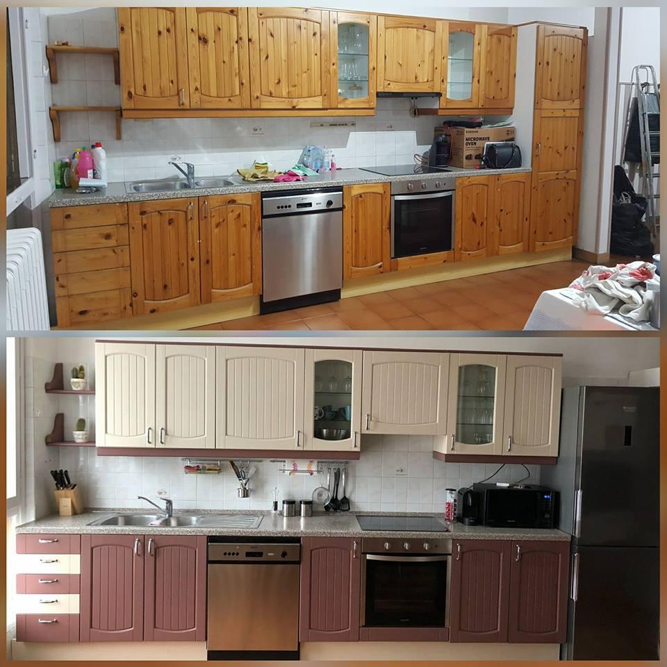 cucina in pino trasformata con colori gesso autentico paint