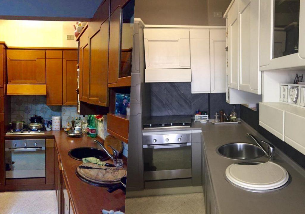 vecchia cucina scavolini dipinta con nuovi colori compreso piano di lavoro