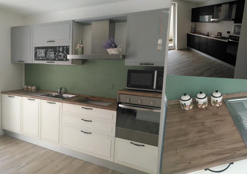 cucina nera laccata dipinta in bianco e grigio, si può fare con le chalk paint autentico