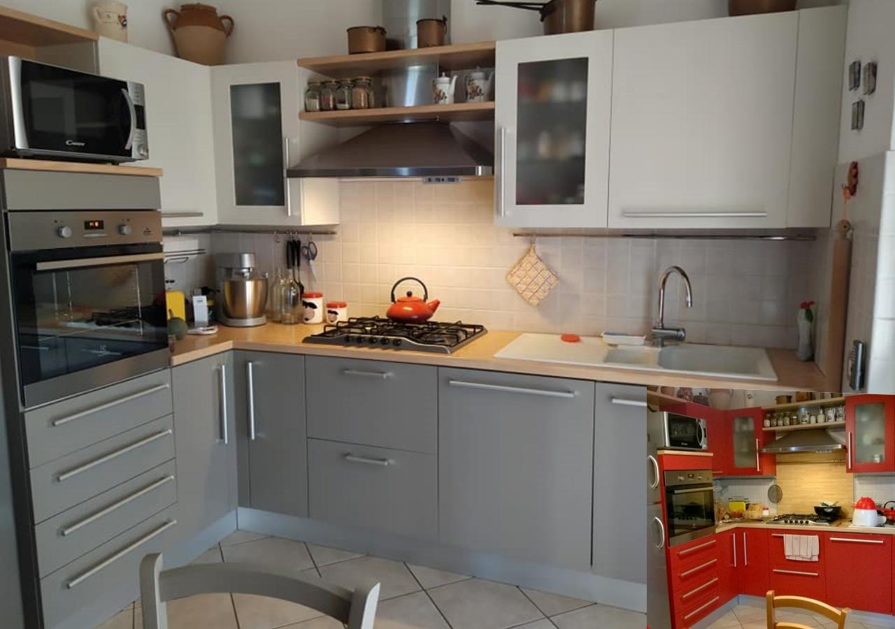 cucina laccata rossa dipinta con vernici gesso autentico